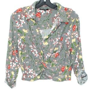 Papermoon Top Floral Cropped Button Large I2